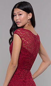 Image of short bateau-neck lace homecoming dress. Style: LP-27740 Detail Image 2
