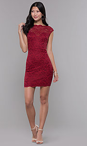 Image of short bateau-neck lace homecoming dress. Style: LP-27740 Detail Image 3