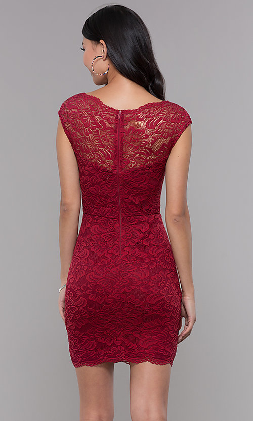 Image of short bateau-neck lace homecoming dress. Style: LP-27740 Back Image