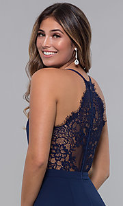 Image of lace-racerback short v-neck homecoming dress. Style: LP-27724 Detail Image 1