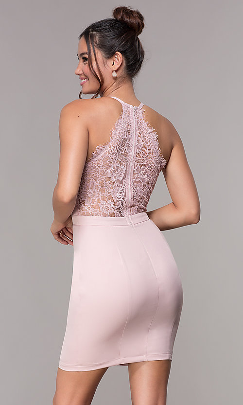 Image of lace-racerback short v-neck homecoming dress. Style: LP-27724 Detail Image 3