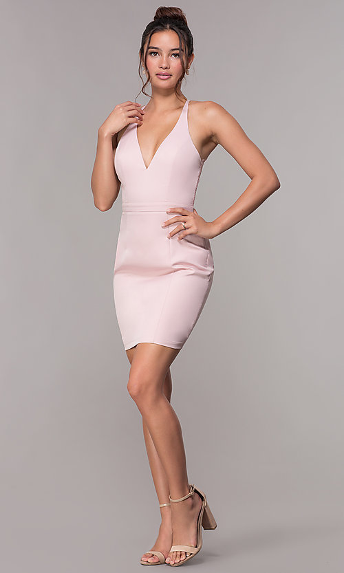 Image of lace-racerback short v-neck homecoming dress. Style: LP-27724 Detail Image 6