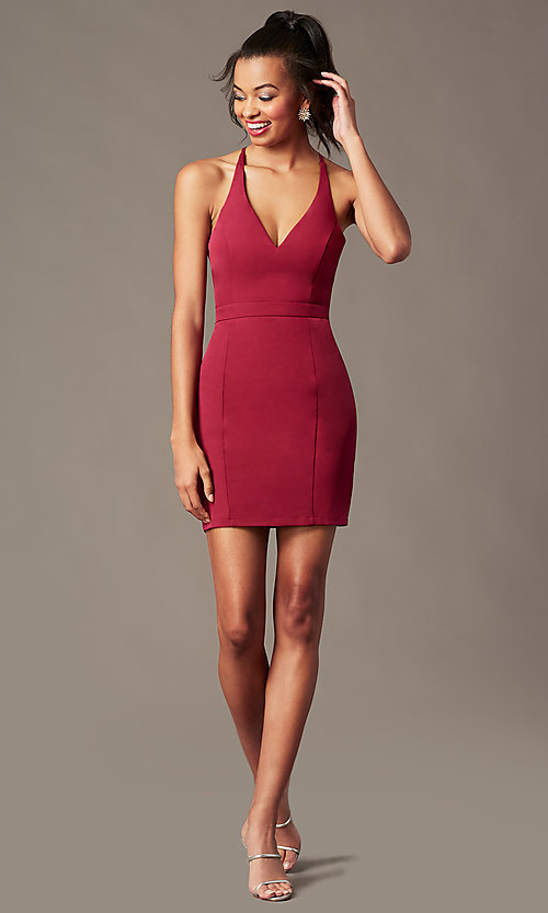 Image of lace-racerback short v-neck homecoming dress. Style: LP-27724 Detail Image 7