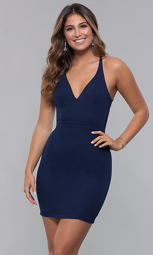 Image of lace-racerback short v-neck homecoming dress. Style: LP-27724 Back Image