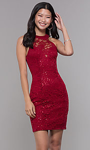 Image of ladder-back short sequin-lace homecoming party dress. Style: LP-27483 Front Image