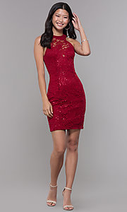 Image of ladder-back short sequin-lace homecoming party dress. Style: LP-27483 Detail Image 3