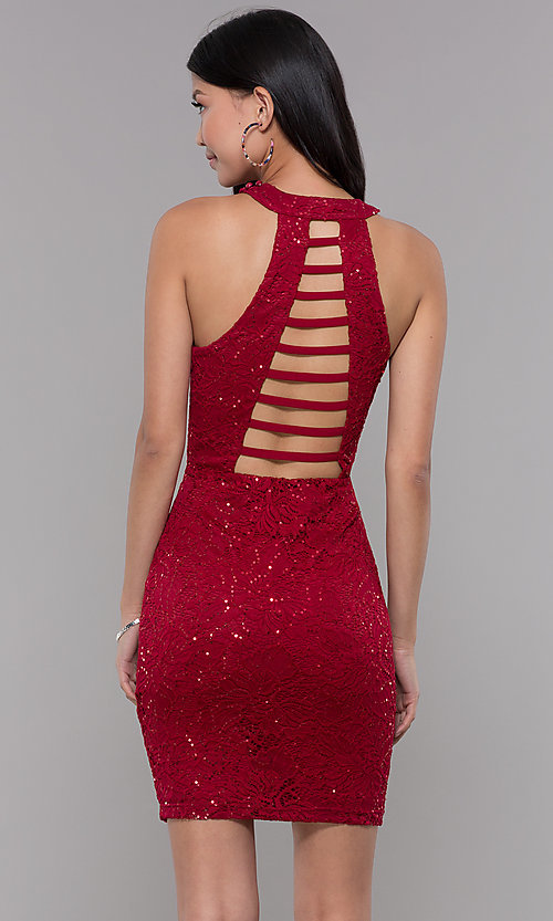 Image of ladder-back short sequin-lace homecoming party dress. Style: LP-27483 Back Image