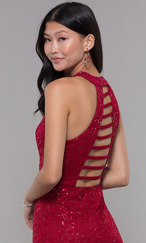 Image of ladder-back short sequin-lace homecoming party dress. Style: LP-27483 Detail Image 2