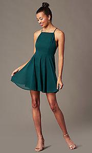 Image of sleeveless homecoming dress with adjustable straps. Style: LP-27723 Detail Image 4