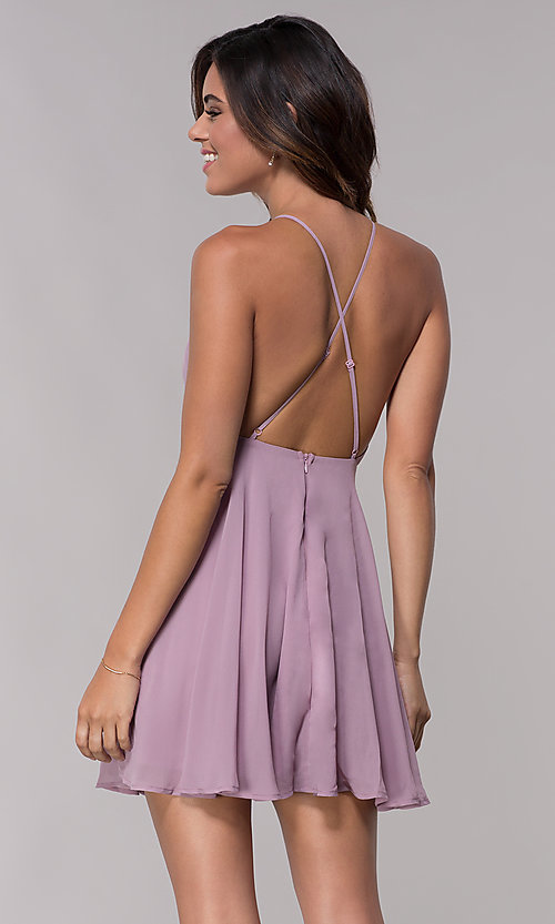 Image of sleeveless homecoming dress with adjustable straps. Style: LP-27723 Detail Image 3