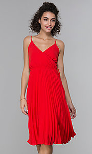 Image of faux-wrap wedding guest dress with pleated skirt. Style: PLA-AJ-705-0479 Front Image