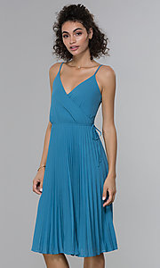 Image of faux-wrap wedding guest dress with pleated skirt. Style: PLA-AJ-705-0479 Detail Image 3