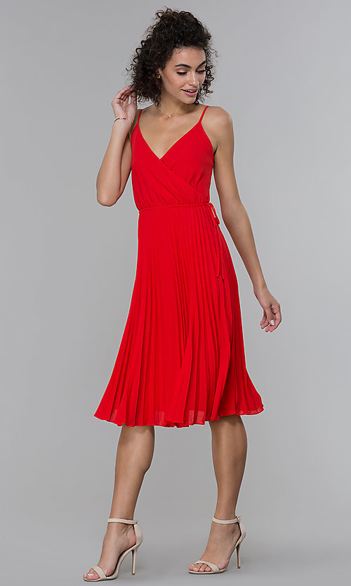 Image of faux-wrap wedding guest dress with pleated skirt. Style: PLA-AJ-705-0479 Detail Image 2