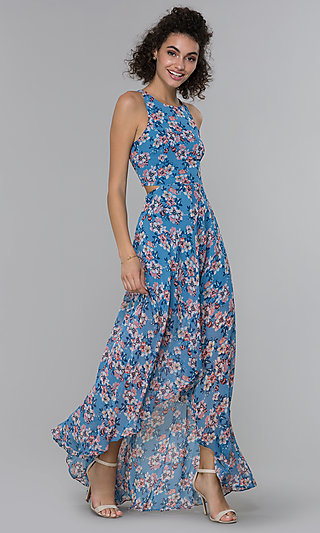 High-Low Wedding Guest Dress with Floral Print
