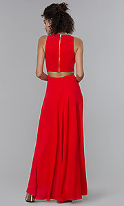Image of high-low formal wedding-guest dress. Style: PLA-AJ-705-0128 Back Image