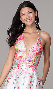 Image of pink floral-print halter hoco party dress by PromGirl. Style: SOI-PL-S17588 Detail Image 1