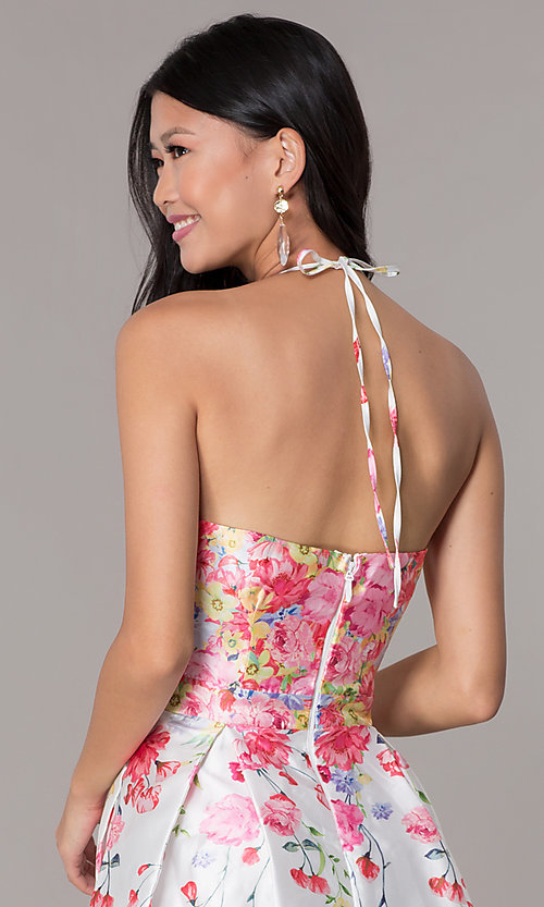 Image of pink floral-print halter hoco party dress by PromGirl. Style: SOI-PL-S17588 Detail Image 2