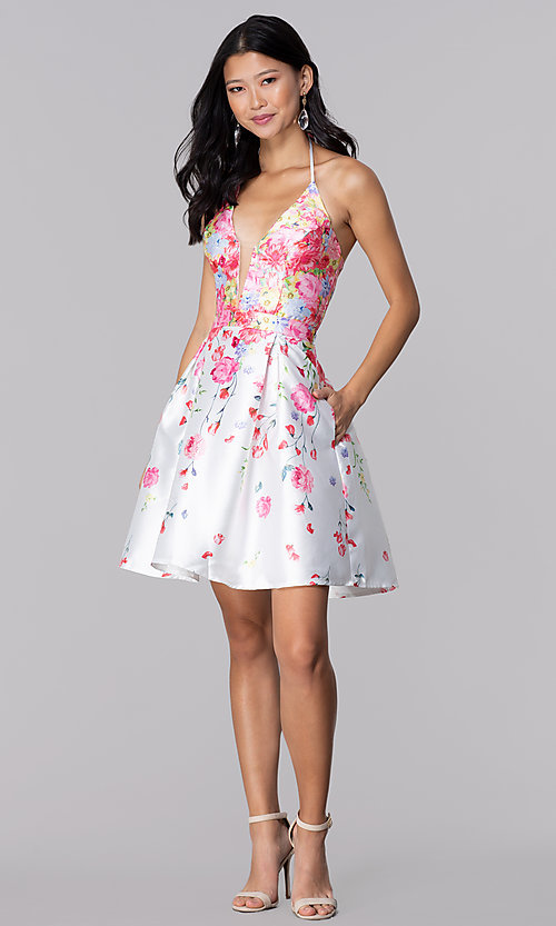 Image of pink floral-print halter hoco party dress by PromGirl. Style: SOI-PL-S17588 Detail Image 3