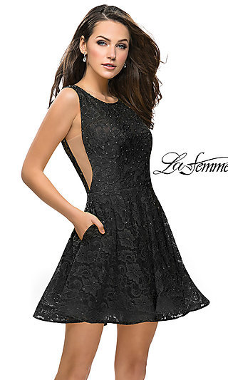 Short La Femme Lace Homecoming Dress with Pockets