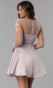 Image of short bracelet-sleeve homecoming dress by PromGirl. Style: DQ-PL-3094 Back Image