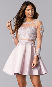 Image of short bracelet-sleeve homecoming dress by PromGirl. Style: DQ-PL-3094 Front Image