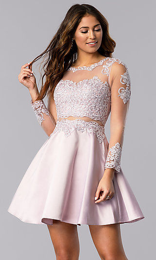 Short Bracelet-Sleeve Homecoming Dress by PromGirl