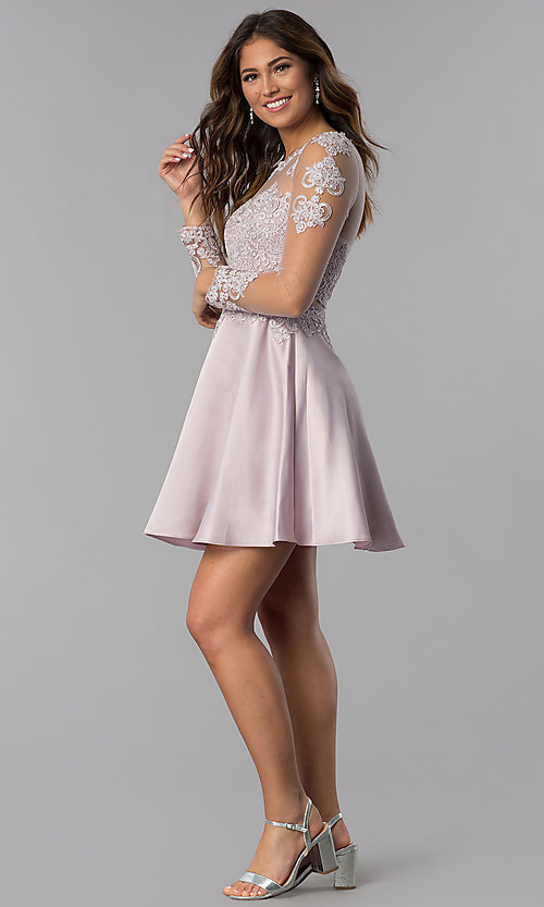 Image of short bracelet-sleeve homecoming dress by PromGirl. Style: DQ-PL-3094 Detail Image 3