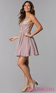 Image of embroidered-bodice short homecoming dress by PromGirl. Style: DQ-PL-3089 Detail Image 3