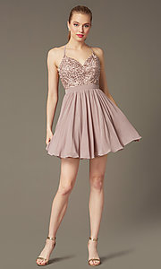 Image of embroidered-bodice short homecoming dress by PromGirl. Style: DQ-PL-3089 Detail Image 1