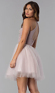 Image of short mock-two-piece hoco dress by PromGirl. Style: DQ-PL-3087 Back Image