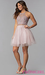 Image of short mock-two-piece hoco dress by PromGirl. Style: DQ-PL-3087 Detail Image 3