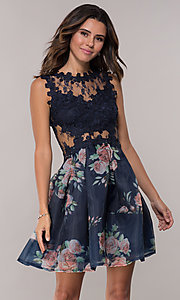 Image of navy pleated-print-skirt hoco dress by PromGirl. Style: SOI-PL-s18266 Front Image