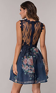 Image of navy pleated-print-skirt hoco dress by PromGirl. Style: SOI-PL-s18266 Back Image
