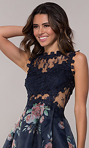 Image of navy pleated-print-skirt hoco dress by PromGirl. Style: SOI-PL-s18266 Detail Image 1