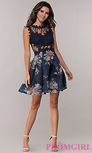 Image of navy pleated-print-skirt hoco dress by PromGirl. Style: SOI-PL-s18266 Detail Image 3