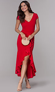 Image of high-low wedding guest v-neck dress with ruffles. Style: MCR-3021 Front Image
