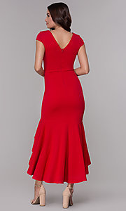 Image of high-low wedding guest v-neck dress with ruffles. Style: MCR-3021 Back Image
