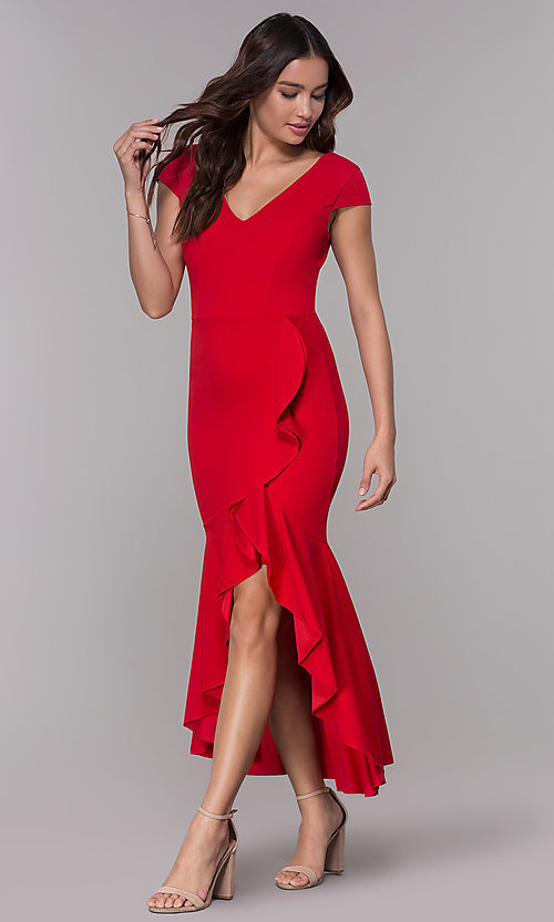 Image of high-low wedding guest v-neck dress with ruffles. Style: MCR-3021 Detail Image 3