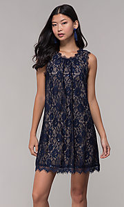 Image of short sequined-lace shift party dress in navy. Style: SS-JA33721H921 Front Image