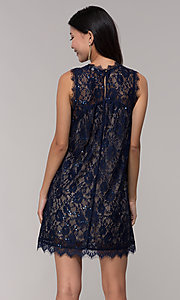 Image of short sequined-lace shift party dress in navy. Style: SS-JA33721H921 Back Image