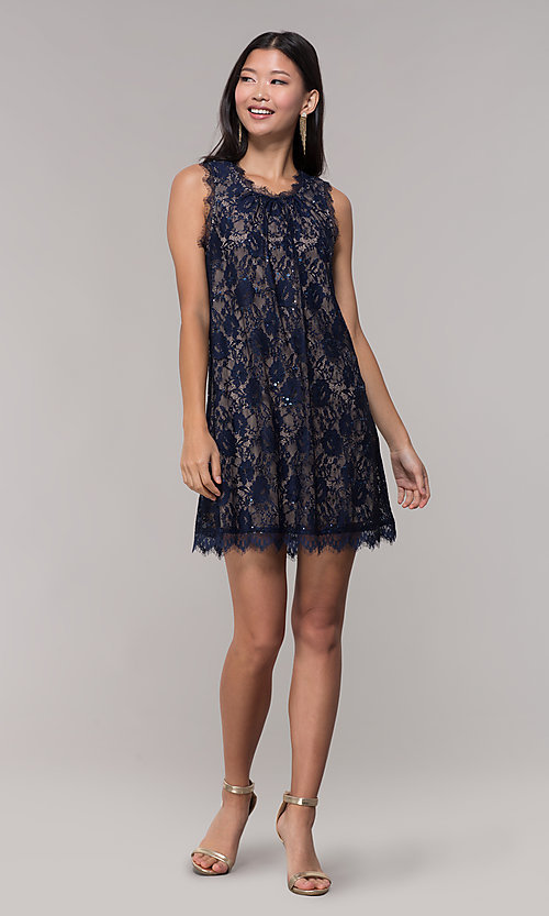 Image of short sequined-lace shift party dress in navy. Style: SS-JA33721H921 Detail Image 1