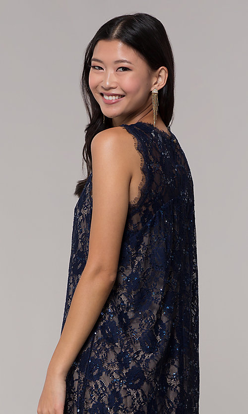 Image of short sequined-lace shift party dress in navy. Style: SS-JA33721H921 Detail Image 3