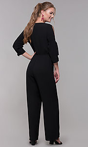 Image of black 3/4-sleeve jersey wedding-guest jumpsuit. Style: SS-JA98892GLB Back Image
