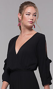 Image of black 3/4-sleeve jersey wedding-guest jumpsuit. Style: SS-JA98892GLB Detail Image 1