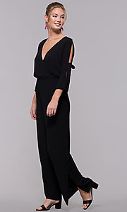 Image of black 3/4-sleeve jersey wedding-guest jumpsuit. Style: SS-JA98892GLB Detail Image 3