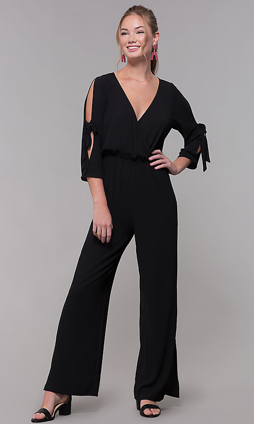 Image of black 3/4-sleeve jersey wedding-guest jumpsuit. Style: SS-JA98892GLB Front Image