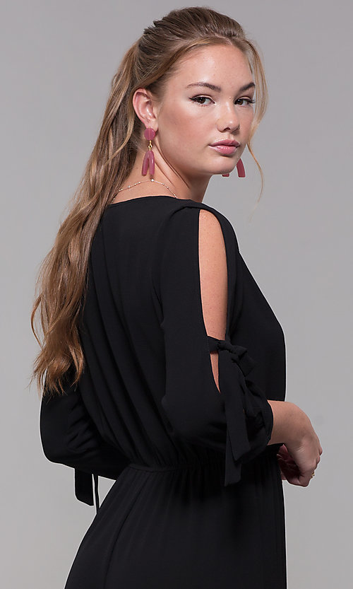 Image of black 3/4-sleeve jersey wedding-guest jumpsuit. Style: SS-JA98892GLB Detail Image 2