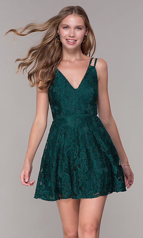 5367237490d Image of short emerald green lace v-neck wedding guest dress. Style  SS