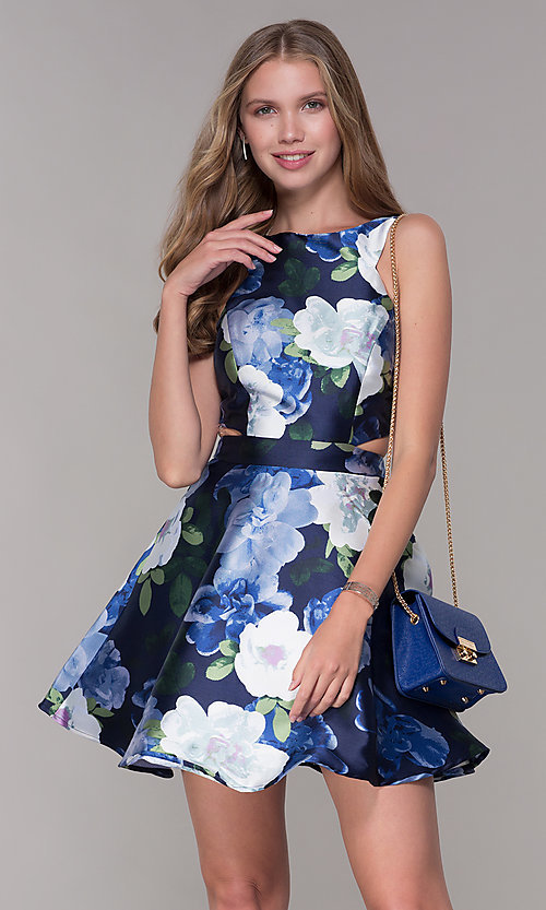 6095d5358ef Image of short floral-print a-line wedding guest dress. Style  SS