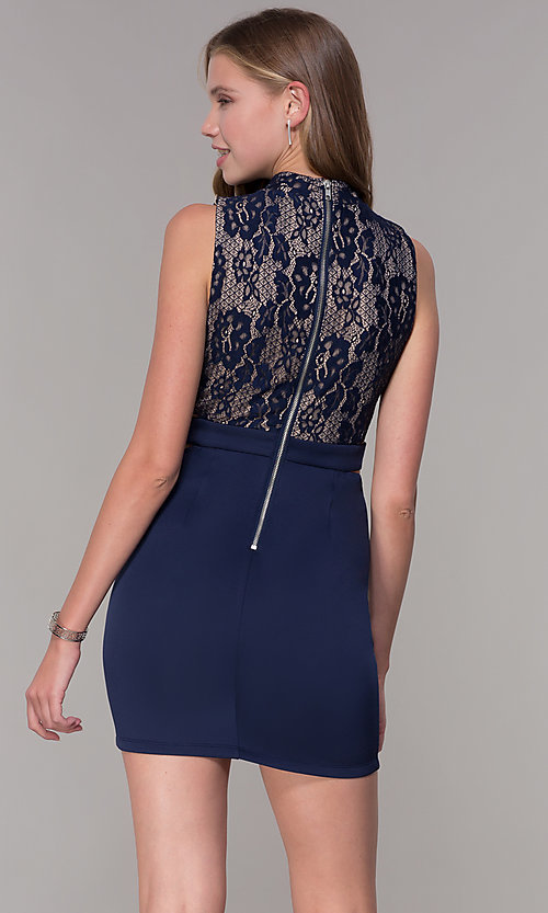 Image of short lace-bodice navy blue homecoming dress. Style  SS-D67992HDJ 220ee7ed2